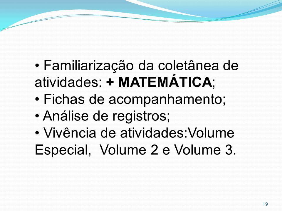 Familiarização da coletânea de atividades: + MATEMÁTICA; Fichas de acompanhamento; Análise de registros; Vivência de atividades:Volume Especial, Volume 2 e Volume 3.