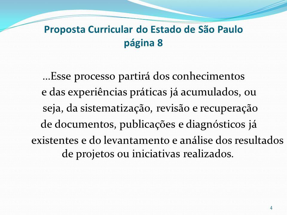 Proposta Curricular do Estado de São Paulo página 8...Esse processo partirá dos conhecimentos e das experiências práticas já acumulados, ou seja, da s