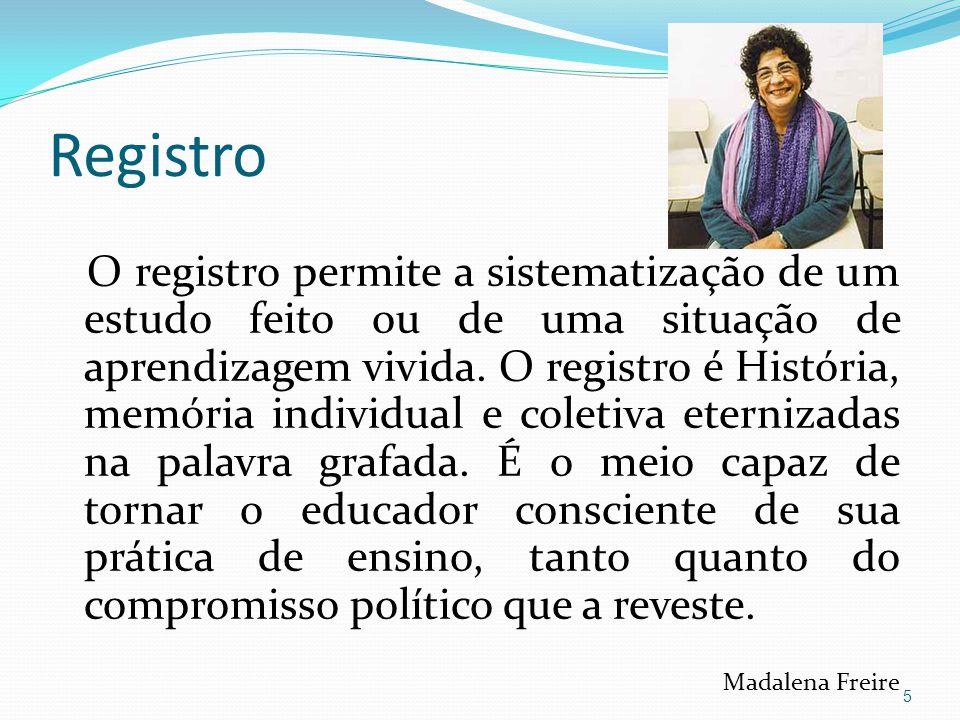Registro O registro permite a sistematização de um estudo feito ou de uma situação de aprendizagem vivida. O registro é História, memória individual e