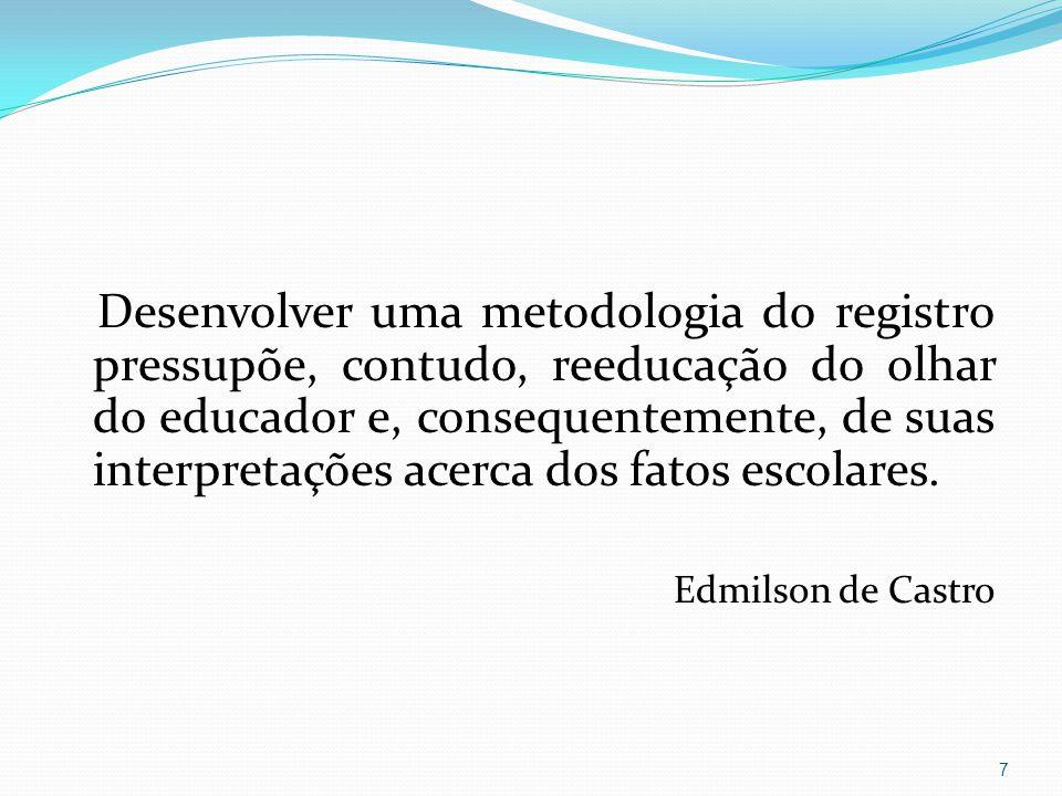 Desenvolver uma metodologia do registro pressupõe, contudo, reeducação do olhar do educador e, consequentemente, de suas interpretações acerca dos fat