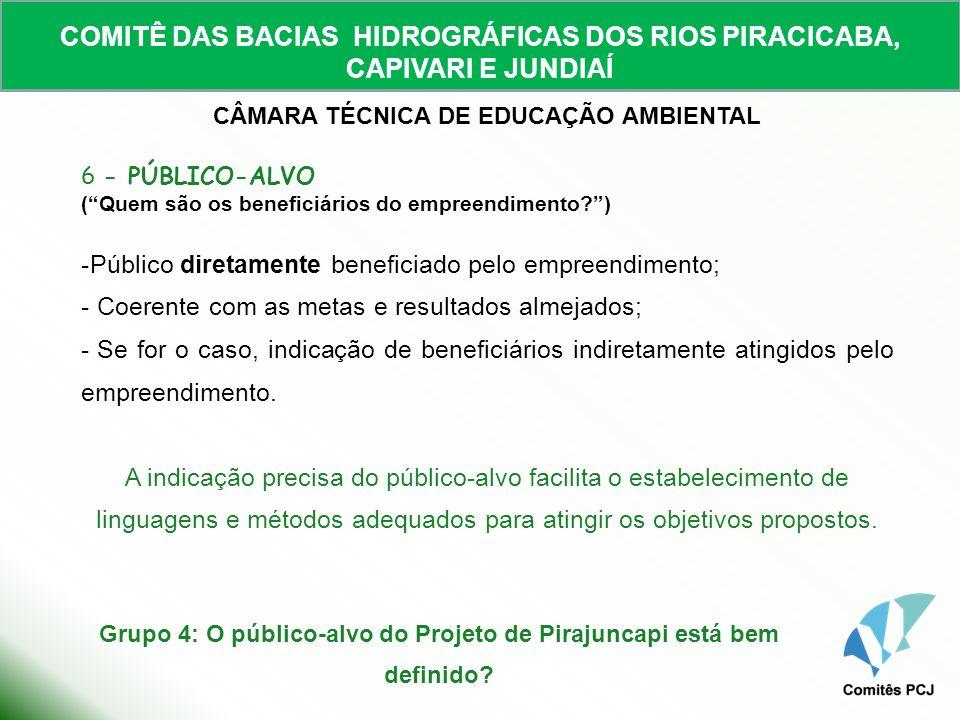 COMITÊ DAS BACIAS HIDROGRÁFICAS DOS RIOS PIRACICABA, CAPIVARI E JUNDIAÍ CÂMARA TÉCNICA DE EDUCAÇÃO AMBIENTAL 6 - PÚBLICO-ALVO (Quem são os beneficiári