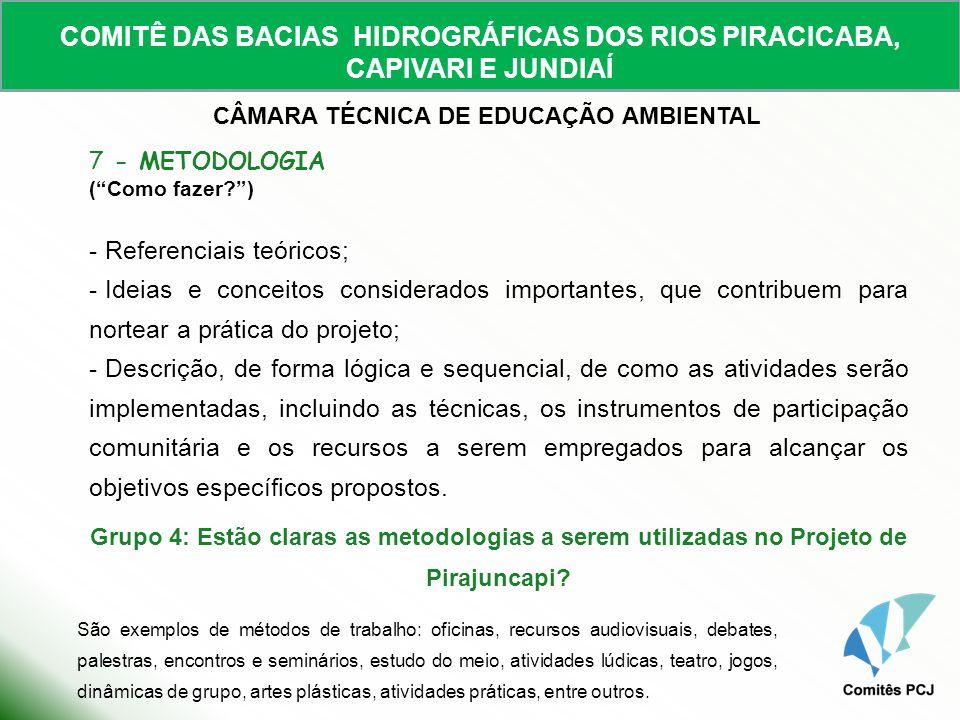 COMITÊ DAS BACIAS HIDROGRÁFICAS DOS RIOS PIRACICABA, CAPIVARI E JUNDIAÍ CÂMARA TÉCNICA DE EDUCAÇÃO AMBIENTAL 7 - METODOLOGIA (Como fazer?) - Referenci