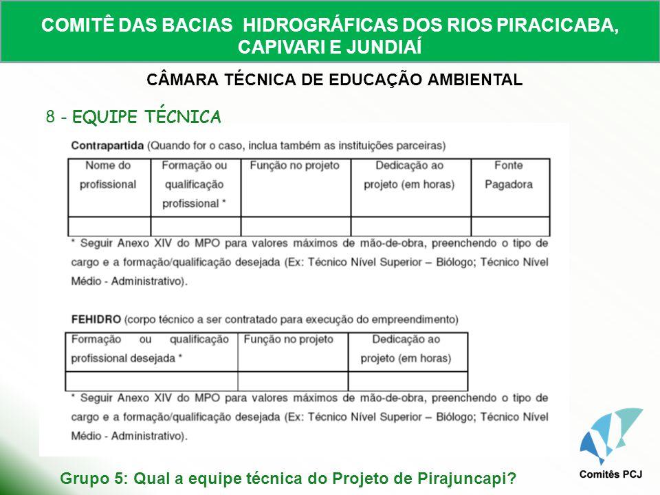 COMITÊ DAS BACIAS HIDROGRÁFICAS DOS RIOS PIRACICABA, CAPIVARI E JUNDIAÍ CÂMARA TÉCNICA DE EDUCAÇÃO AMBIENTAL Grupo 5: Qual a equipe técnica do Projeto