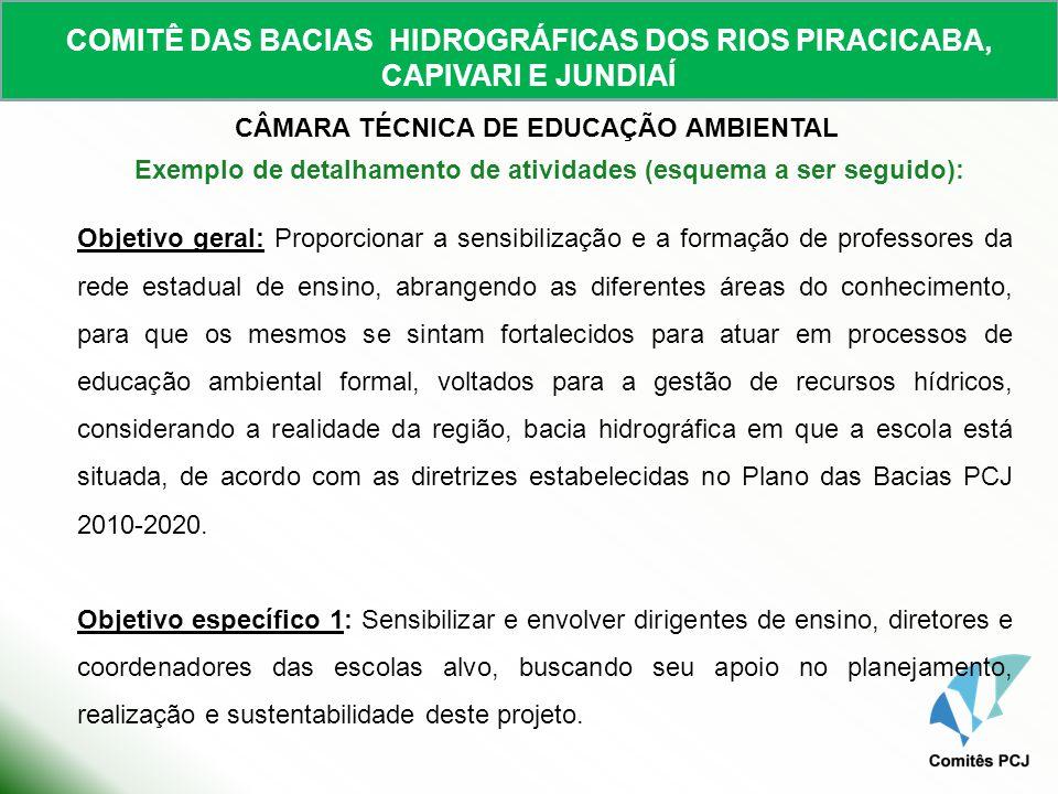 COMITÊ DAS BACIAS HIDROGRÁFICAS DOS RIOS PIRACICABA, CAPIVARI E JUNDIAÍ CÂMARA TÉCNICA DE EDUCAÇÃO AMBIENTAL Objetivo geral: Proporcionar a sensibiliz