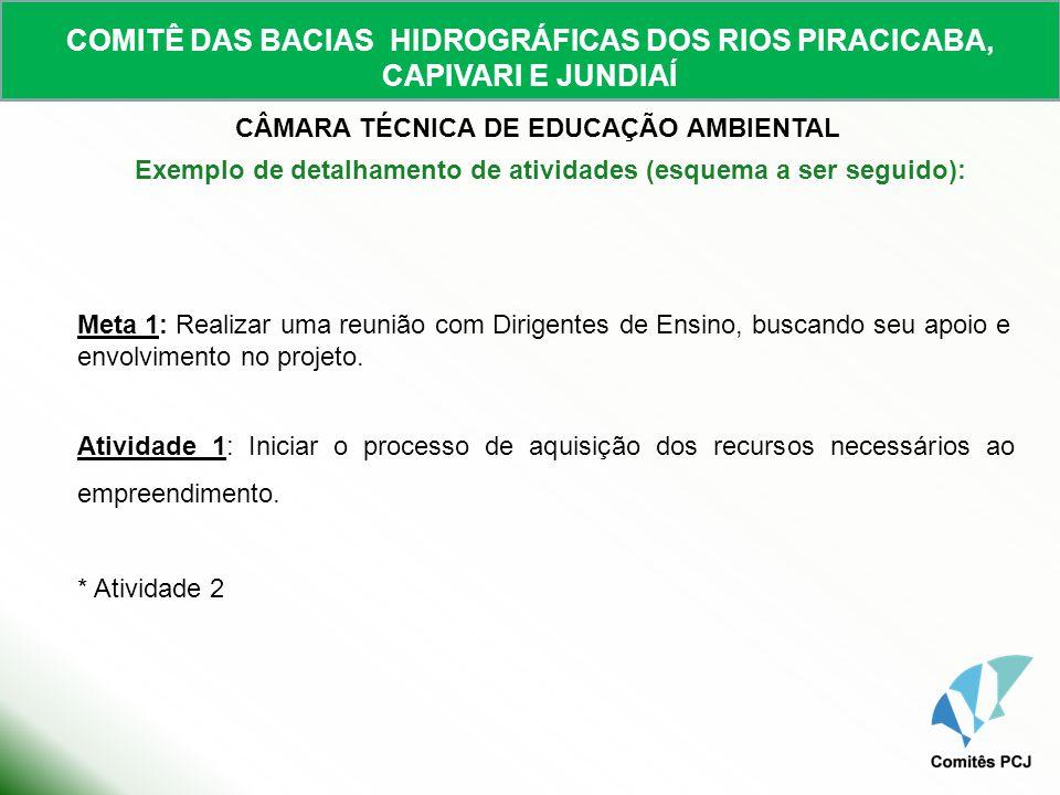 COMITÊ DAS BACIAS HIDROGRÁFICAS DOS RIOS PIRACICABA, CAPIVARI E JUNDIAÍ CÂMARA TÉCNICA DE EDUCAÇÃO AMBIENTAL Meta 1: Realizar uma reunião com Dirigent