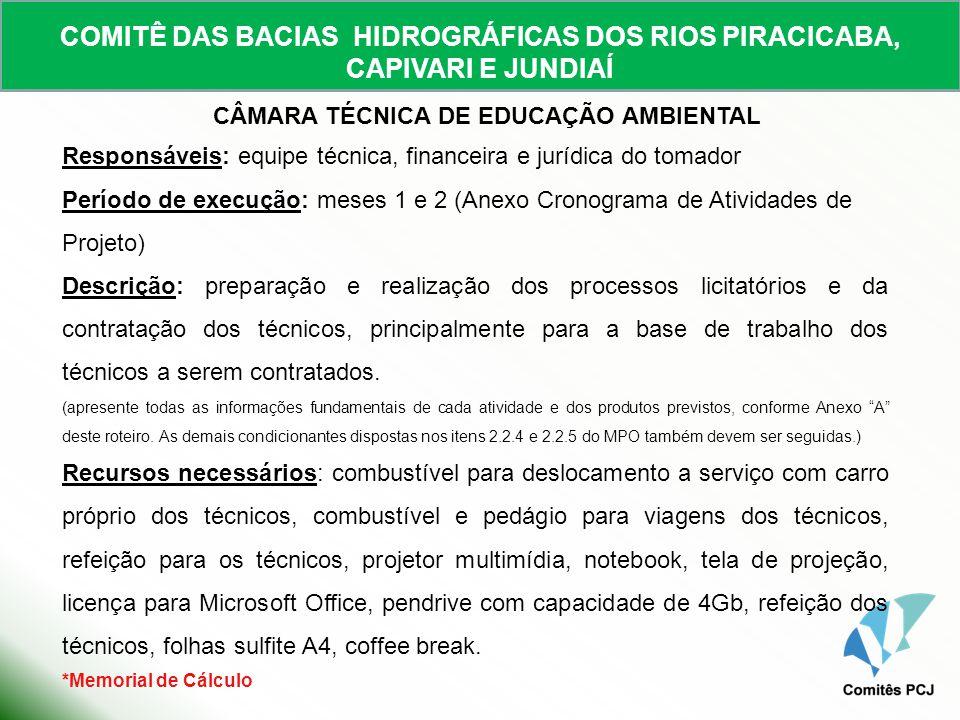 COMITÊ DAS BACIAS HIDROGRÁFICAS DOS RIOS PIRACICABA, CAPIVARI E JUNDIAÍ CÂMARA TÉCNICA DE EDUCAÇÃO AMBIENTAL Responsáveis: equipe técnica, financeira