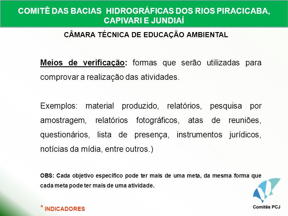 COMITÊ DAS BACIAS HIDROGRÁFICAS DOS RIOS PIRACICABA, CAPIVARI E JUNDIAÍ CÂMARA TÉCNICA DE EDUCAÇÃO AMBIENTAL Meios de verificação: formas que serão ut