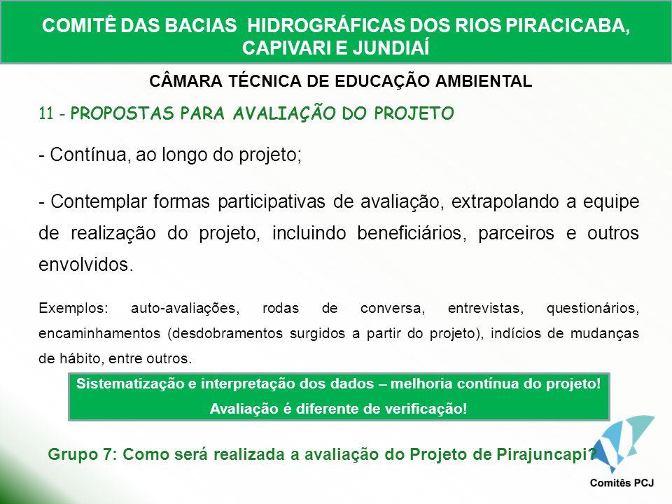 COMITÊ DAS BACIAS HIDROGRÁFICAS DOS RIOS PIRACICABA, CAPIVARI E JUNDIAÍ CÂMARA TÉCNICA DE EDUCAÇÃO AMBIENTAL 11 - PROPOSTAS PARA AVALIAÇÃO DO PROJETO