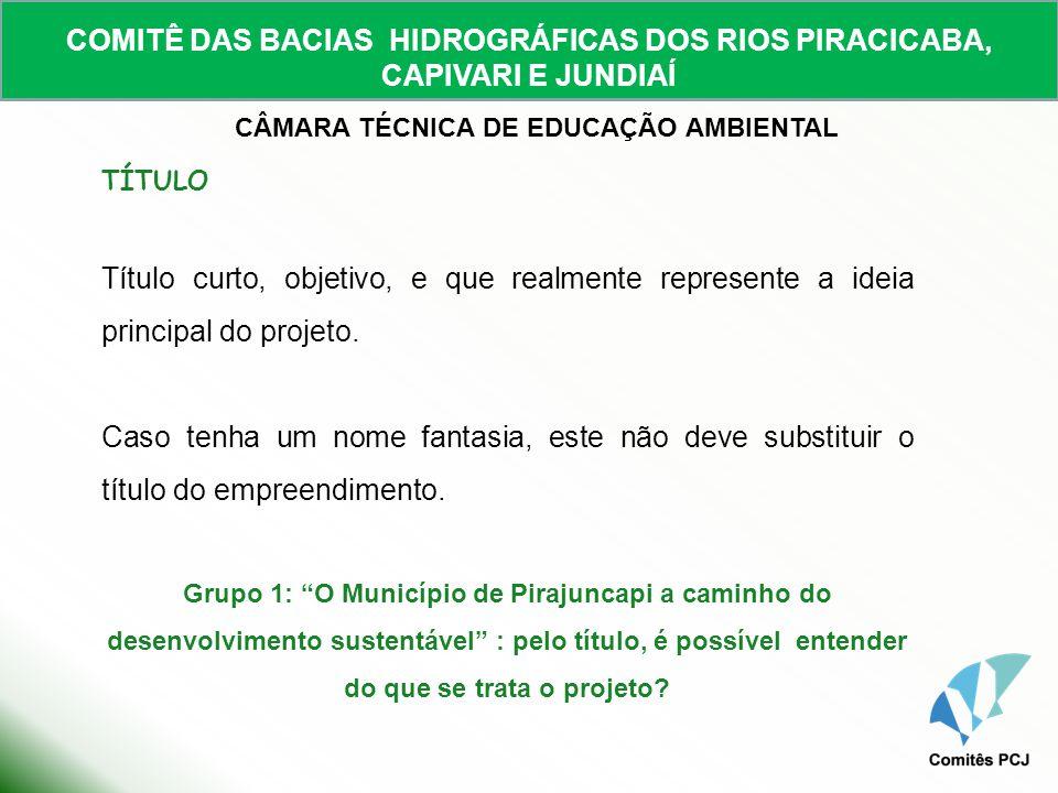COMITÊ DAS BACIAS HIDROGRÁFICAS DOS RIOS PIRACICABA, CAPIVARI E JUNDIAÍ CÂMARA TÉCNICA DE EDUCAÇÃO AMBIENTAL 1- APRESENTAÇÃO INSTITUCIONAL DO TOMADOR (Quem somos?) - Informações concisas e diretas do tomador; - Atividades já desenvolvidas pela instituição, relacionadas com o projeto proposto, citando parcerias já realizadas; - Estrutura organizacional/administrativa da instituição proponente.