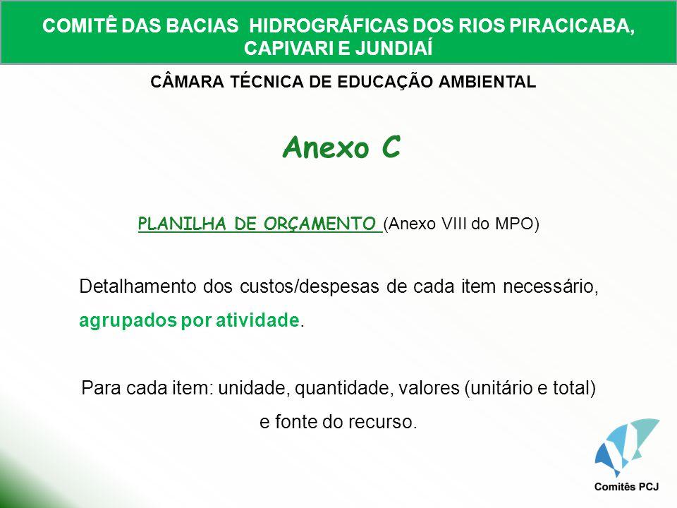 COMITÊ DAS BACIAS HIDROGRÁFICAS DOS RIOS PIRACICABA, CAPIVARI E JUNDIAÍ CÂMARA TÉCNICA DE EDUCAÇÃO AMBIENTAL PLANILHA DE ORÇAMENTO (Anexo VIII do MPO)