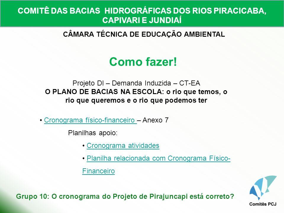 COMITÊ DAS BACIAS HIDROGRÁFICAS DOS RIOS PIRACICABA, CAPIVARI E JUNDIAÍ CÂMARA TÉCNICA DE EDUCAÇÃO AMBIENTAL Como fazer! Projeto DI – Demanda Induzida