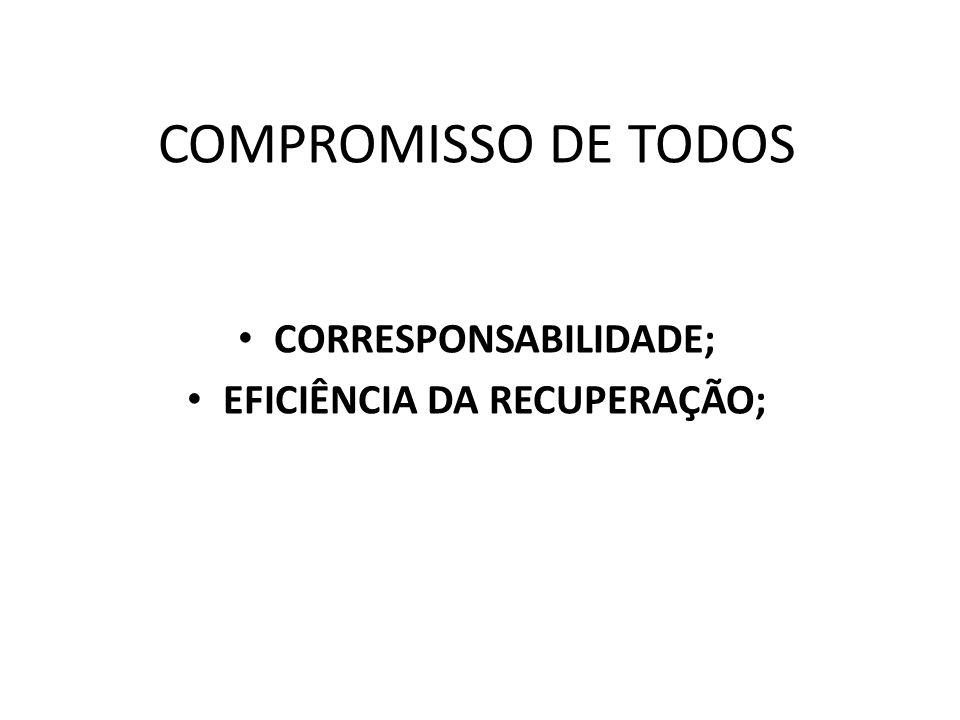 COMPROMISSO DE TODOS CORRESPONSABILIDADE; EFICIÊNCIA DA RECUPERAÇÃO;