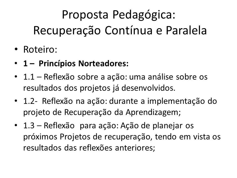 Proposta Pedagógica: Recuperação Contínua e Paralela Roteiro: 1 – Princípios Norteadores: 1.1 – Reflexão sobre a ação: uma análise sobre os resultados dos projetos já desenvolvidos.