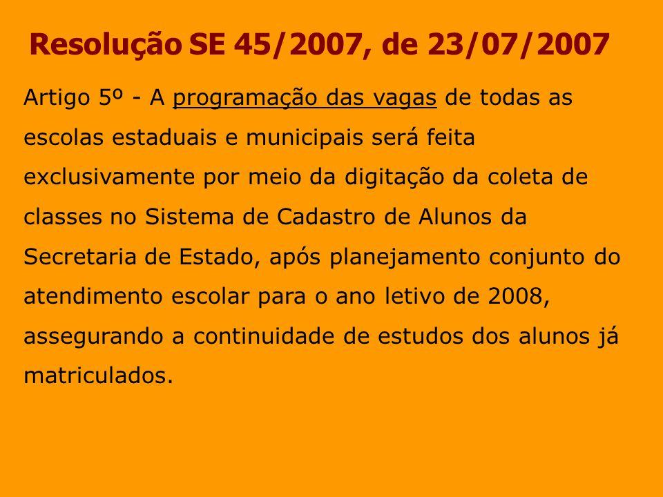 Resolução SE 45/2007, de 23/07/2007 Artigo 5º - A programação das vagas de todas as escolas estaduais e municipais será feita exclusivamente por meio