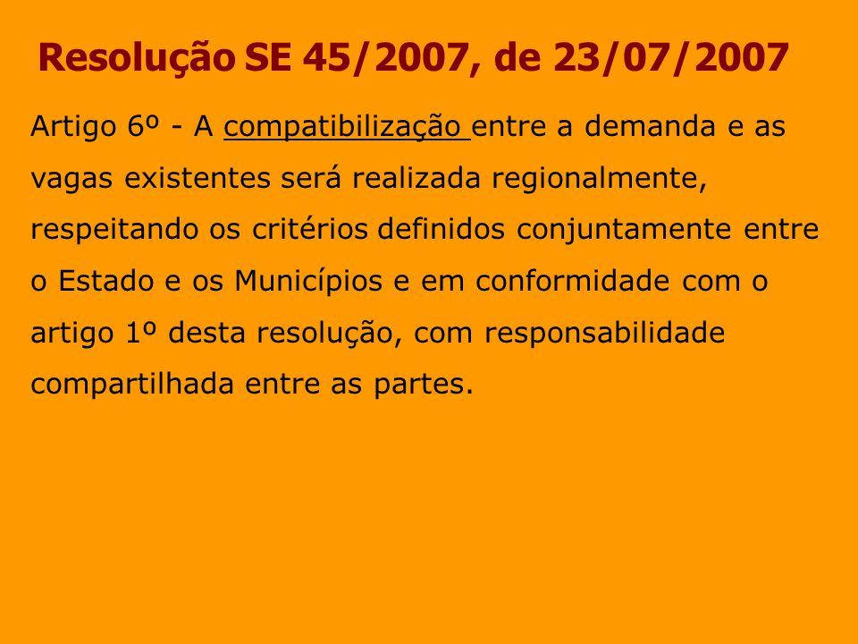 Resolução SE 45/2007, de 23/07/2007 Artigo 6º - A compatibilização entre a demanda e as vagas existentes será realizada regionalmente, respeitando os