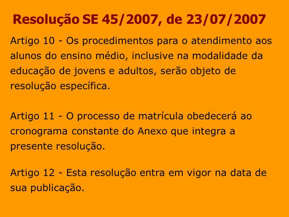 Resolução SE 45/2007, de 23/07/2007 Artigo 10 - Os procedimentos para o atendimento aos alunos do ensino médio, inclusive na modalidade da educação de