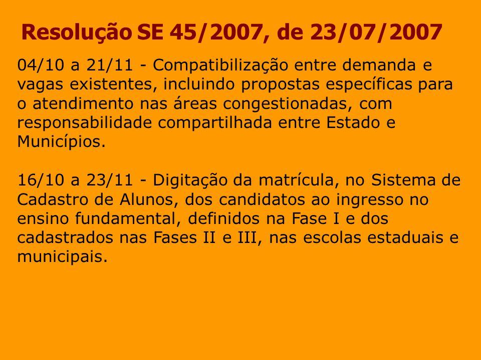 Resolução SE 45/2007, de 23/07/2007 04/10 a 21/11 - Compatibilização entre demanda e vagas existentes, incluindo propostas específicas para o atendime