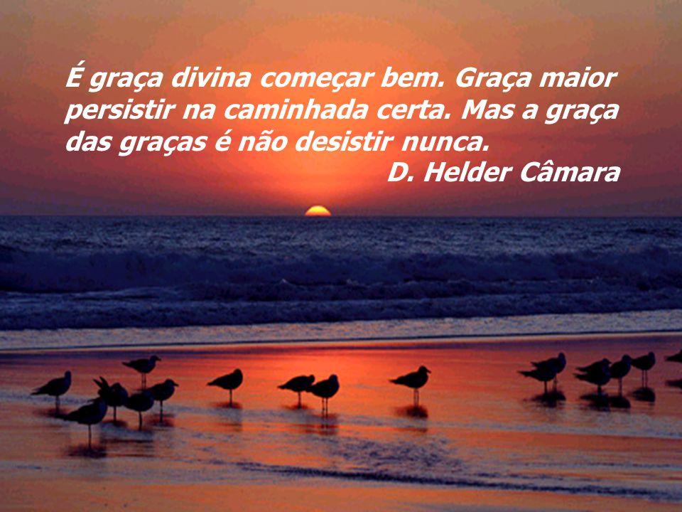 É graça divina começar bem. Graça maior persistir na caminhada certa. Mas a graça das graças é não desistir nunca. D. Helder Câmara