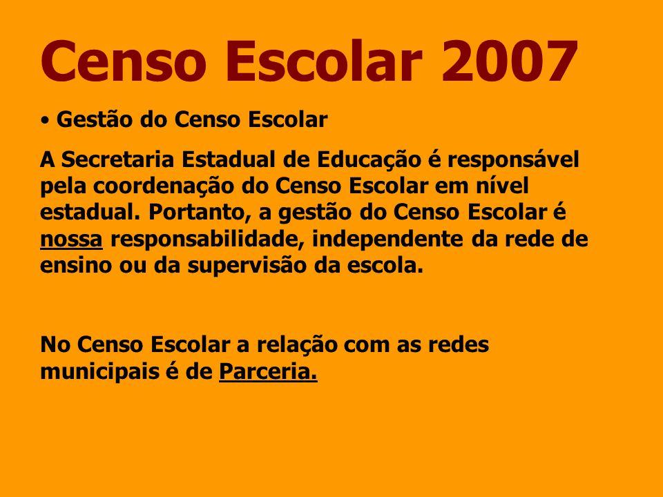Censo Escolar 2007 Gestão do Censo Escolar A Secretaria Estadual de Educação é responsável pela coordenação do Censo Escolar em nível estadual. Portan