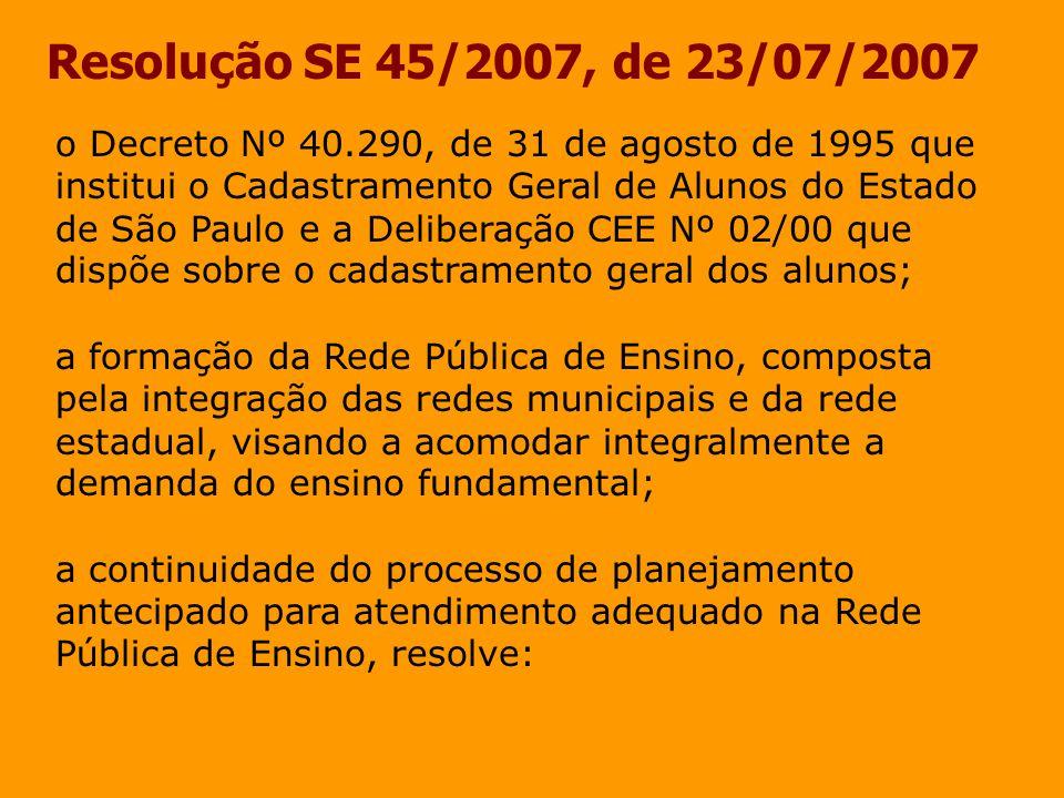 Resolução SE 45/2007, de 23/07/2007 Artigo 8º - No processo de matrícula antecipada para o ano letivo de 2008, caberá: I - às Coordenadorias de Ensino, por meio das equipes de planejamento da demanda escolar, orientar e supervisionar o trabalho das equipes de planejamento das Diretorias de Ensino na condução do processo da matrícula antecipada, garantindo o pleno atendimento da demanda cadastrada.