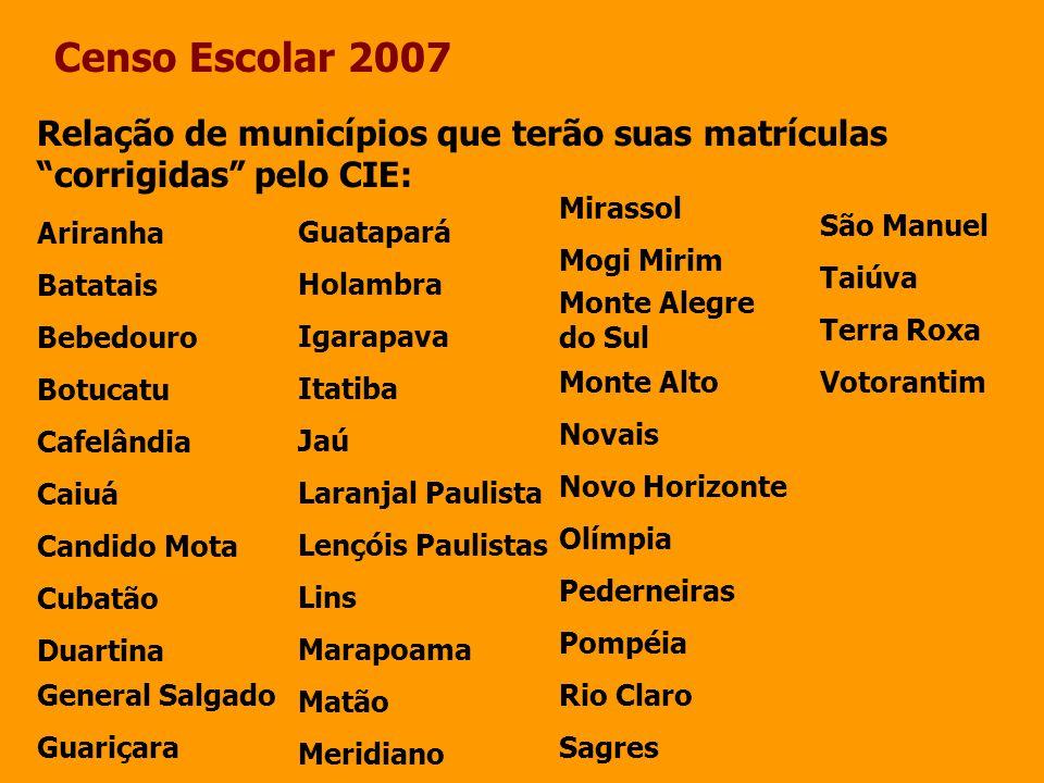 Censo Escolar 2007 Relação de municípios que terão suas matrículas corrigidas pelo CIE: Ariranha Batatais Bebedouro Botucatu Cafelândia Caiuá Candido