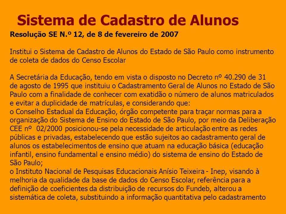 Sistema de Cadastro de Alunos Resolução SE N.º 12, de 8 de fevereiro de 2007 Institui o Sistema de Cadastro de Alunos do Estado de São Paulo como inst