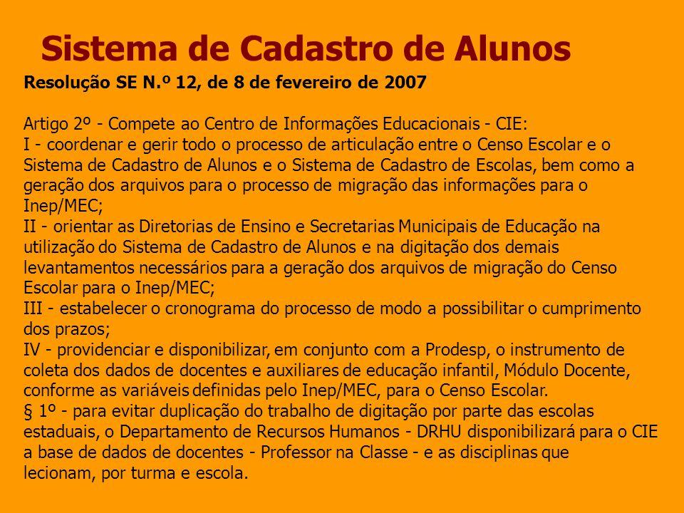 Sistema de Cadastro de Alunos Resolução SE N.º 12, de 8 de fevereiro de 2007 Artigo 2º - Compete ao Centro de Informações Educacionais - CIE: I - coor