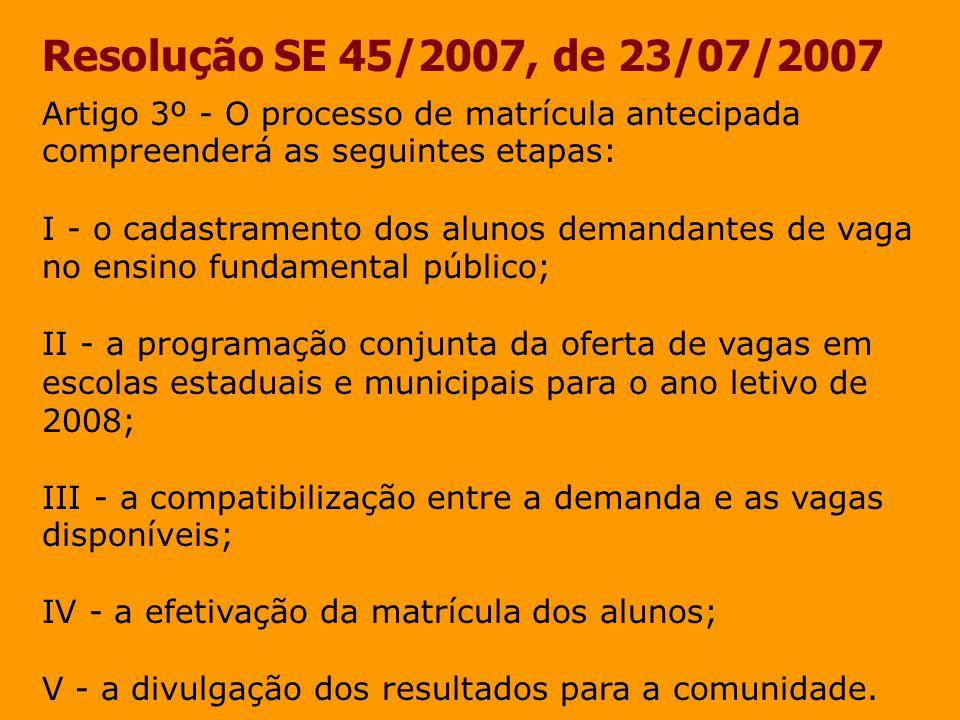 Resolução SE 45/2007, de 23/07/2007 Artigo 4º - O cadastramento dos alunos demandantes de vaga no ensino fundamental, no Programa de Matrícula Antecipada, será efetuado em três fases: I - a primeira fase abrangerá o período de 13 de agosto a 28 de setembro, quando serão definidos os alunos das redes municipais de educação infantil que completaram ou completarão 6 anos de idade em 2007, já cadastrados no Sistema de Cadastro de Alunos do Estado de São Paulo pelas Secretarias Municipais de Educação, candidatos a ingressar no ensino fundamental, em escola estadual ou municipal;