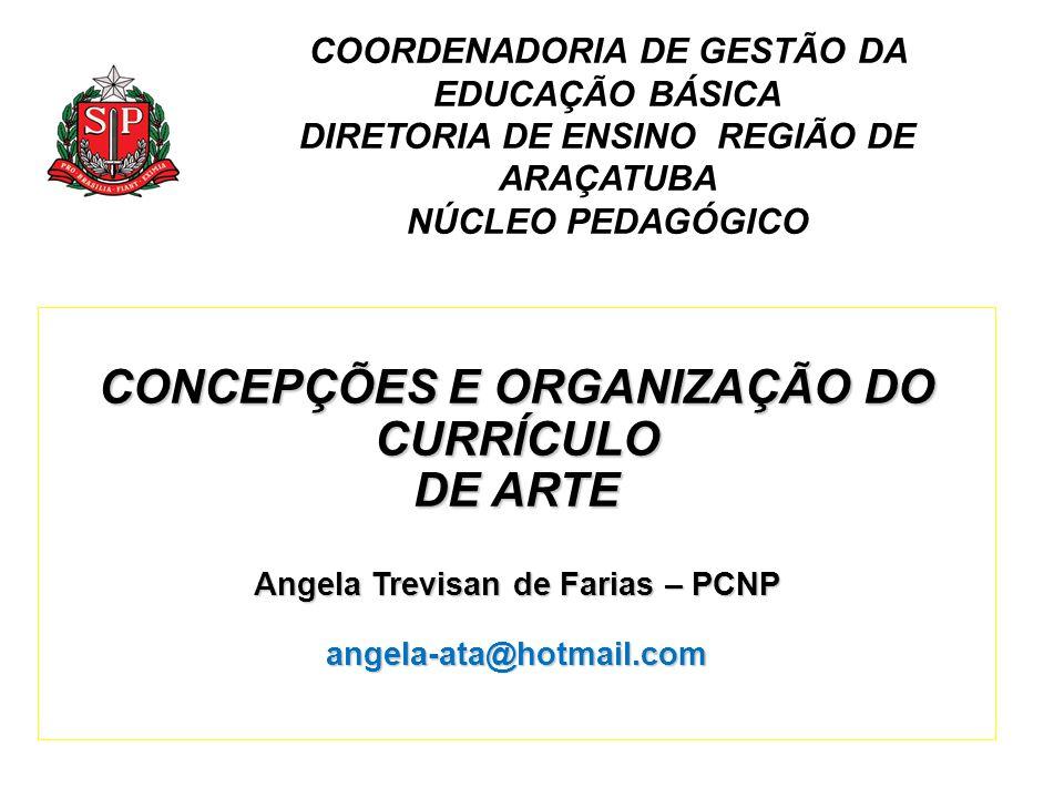 COORDENADORIA DE GESTÃO DA EDUCAÇÃO BÁSICA DIRETORIA DE ENSINO REGIÃO DE ARAÇATUBA NÚCLEO PEDAGÓGICO CONCEPÇÕES E ORGANIZAÇÃO DO CURRÍCULO DE ARTE Ang
