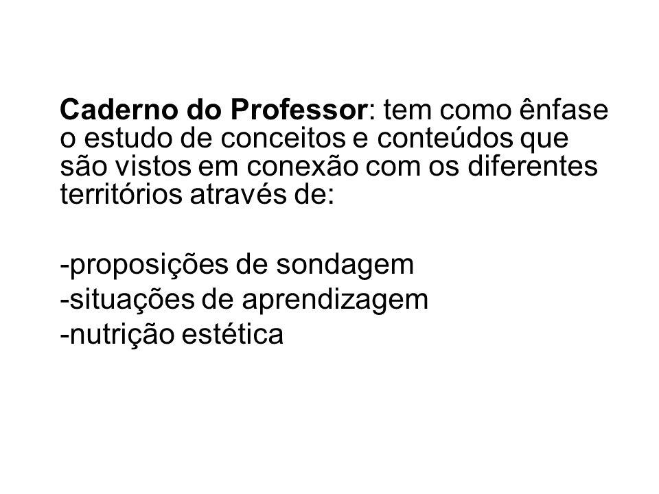 Caderno do Professor: tem como ênfase o estudo de conceitos e conteúdos que são vistos em conexão com os diferentes territórios através de: -proposiçõ