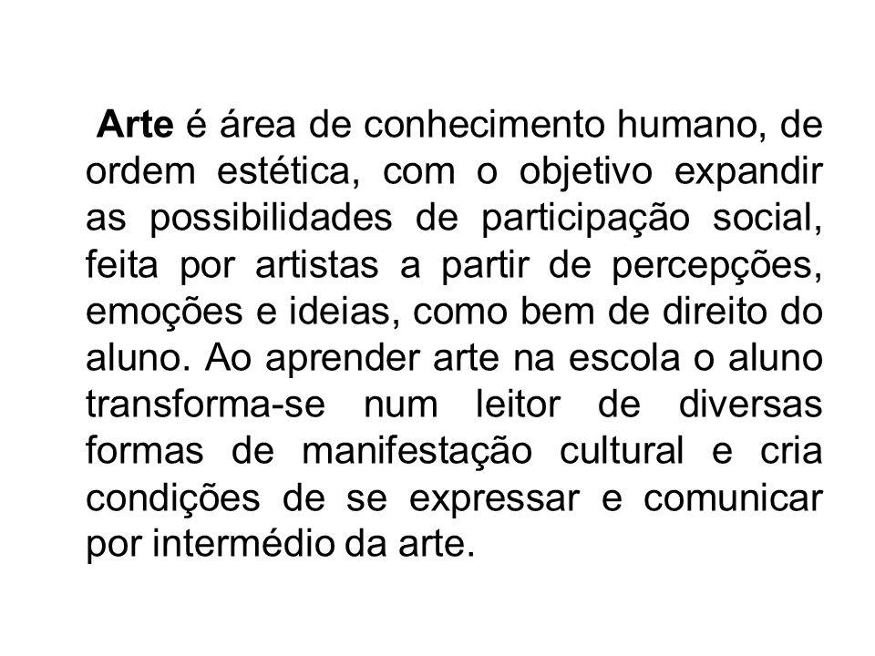 Arte é área de conhecimento humano, de ordem estética, com o objetivo expandir as possibilidades de participação social, feita por artistas a partir d