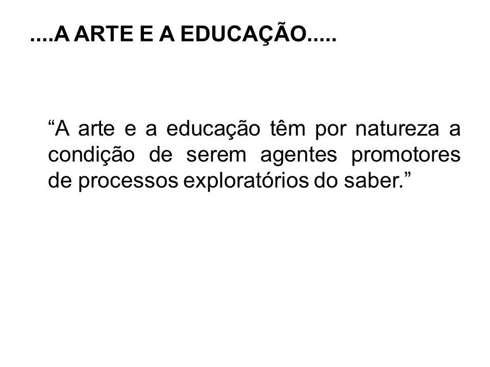 ....A ARTE E A EDUCAÇÃO..... A arte e a educação têm por natureza a condição de serem agentes promotores de processos exploratórios do saber.