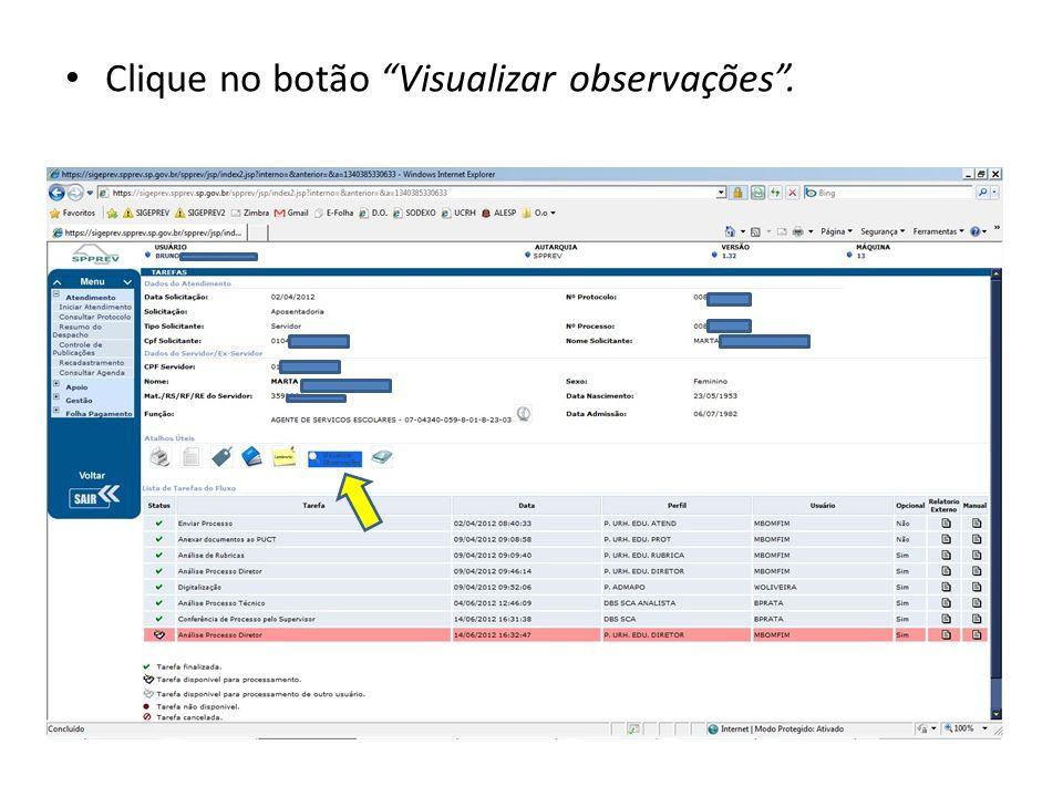 Clique no botão Visualizar observações.