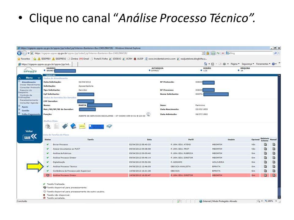 Clique no canal Análise Processo Técnico.
