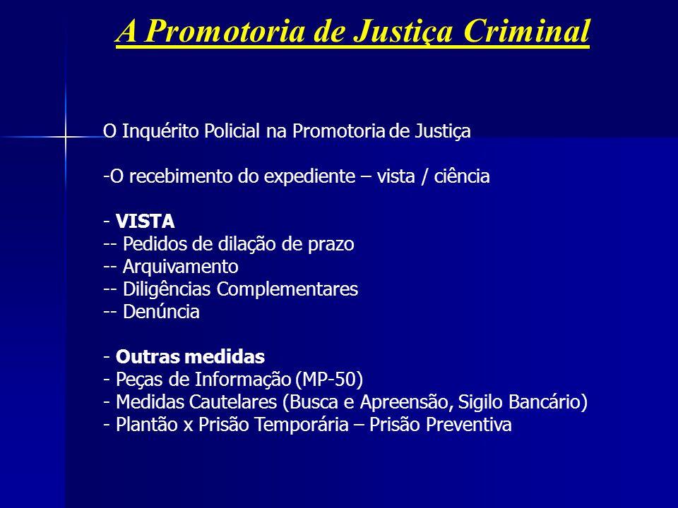 A Promotoria de Justiça Criminal O Inquérito Policial na Promotoria de Justiça -O recebimento do expediente – vista / ciência - VISTA -- Pedidos de di