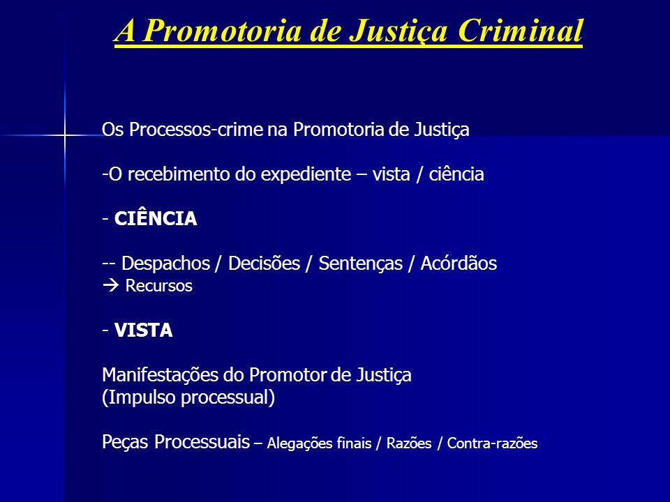 A Promotoria de Justiça Criminal Os Processos-crime na Promotoria de Justiça -O recebimento do expediente – vista / ciência - CIÊNCIA -- Despachos / D
