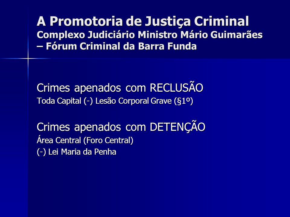 A Promotoria de Justiça Criminal Complexo Judiciário Ministro Mário Guimarães – Fórum Criminal da Barra Funda Crimes apenados com RECLUSÃO Toda Capita