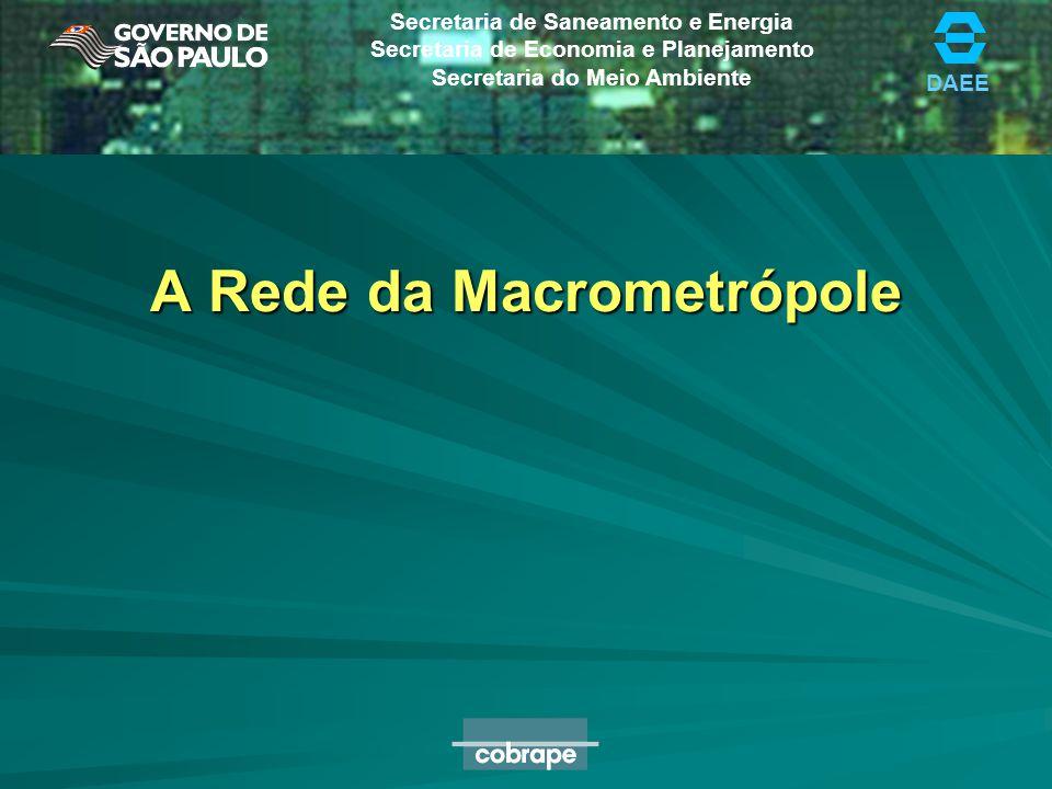 DAEE Secretaria de Saneamento e Energia Secretaria de Economia e Planejamento Secretaria do Meio Ambiente A Rede da Macrometrópole