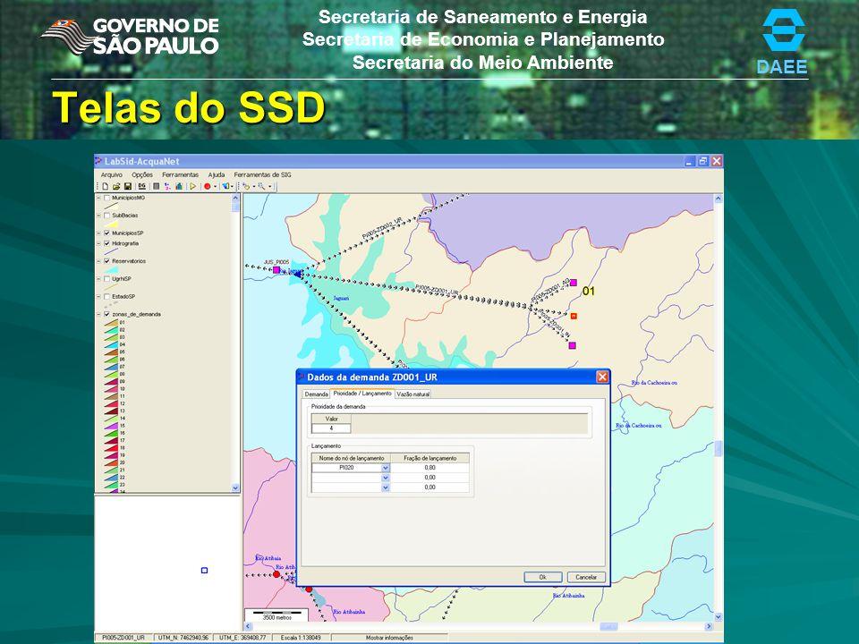 DAEE Secretaria de Saneamento e Energia Secretaria de Economia e Planejamento Secretaria do Meio Ambiente Telas do SSD