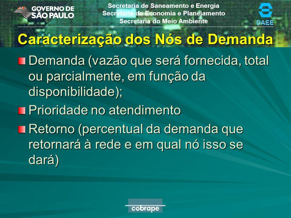 DAEE Secretaria de Saneamento e Energia Secretaria de Economia e Planejamento Secretaria do Meio Ambiente Caracterização dos Nós de Demanda Demanda (v