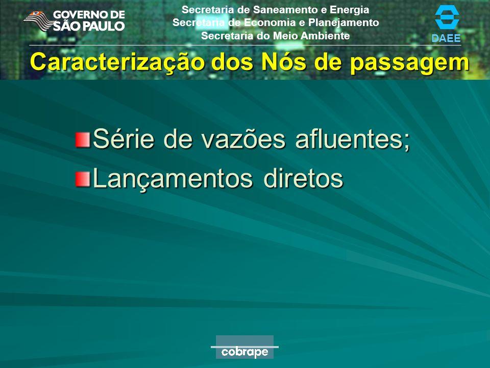 DAEE Secretaria de Saneamento e Energia Secretaria de Economia e Planejamento Secretaria do Meio Ambiente Caracterização dos Nós de passagem Série de