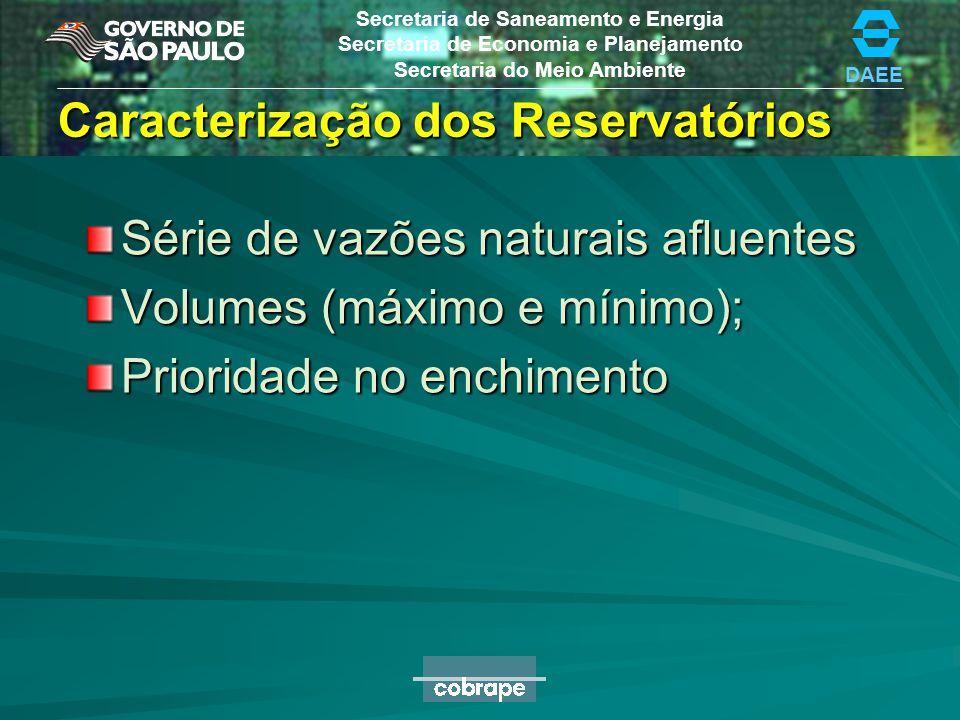 DAEE Secretaria de Saneamento e Energia Secretaria de Economia e Planejamento Secretaria do Meio Ambiente Caracterização dos Reservatórios Série de va