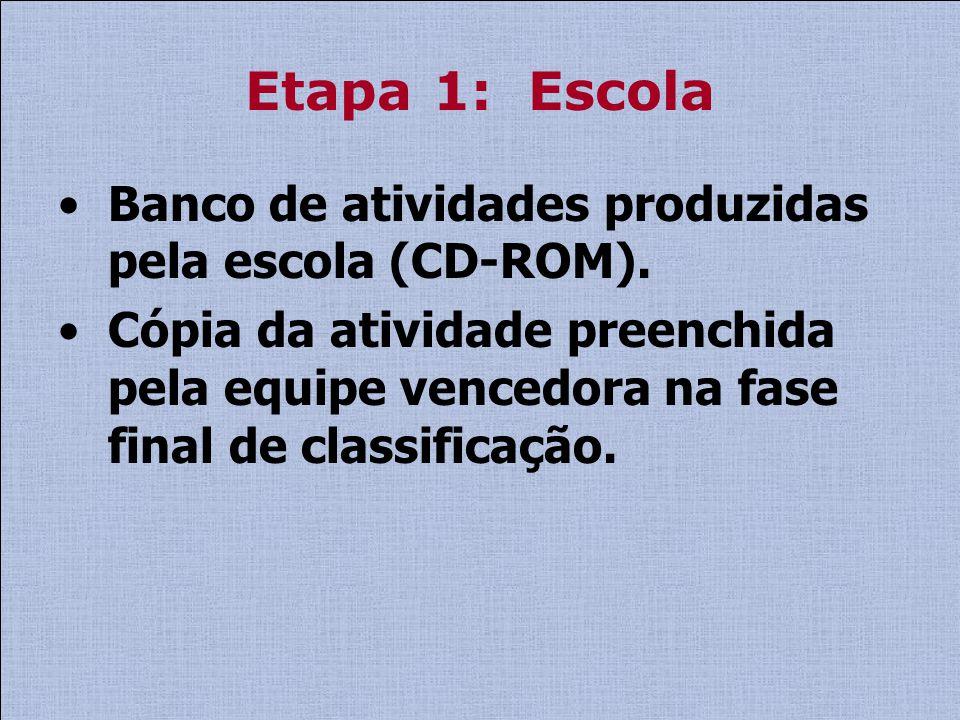 Etapa 1: Escola Banco de atividades produzidas pela escola (CD-ROM). Cópia da atividade preenchida pela equipe vencedora na fase final de classificaçã