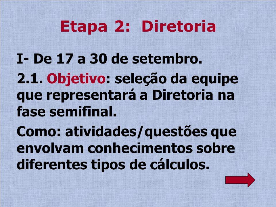 Etapa 2: Diretoria I- De 17 a 30 de setembro. 2.1. Objetivo: seleção da equipe que representará a Diretoria na fase semifinal. Como: atividades/questõ
