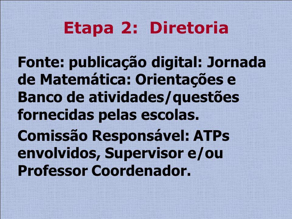 Etapa 2: Diretoria Fonte: publicação digital: Jornada de Matemática: Orientações e Banco de atividades/questões fornecidas pelas escolas. Comissão Res