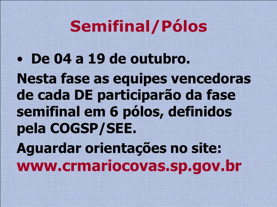 Semifinal/Pólos De 04 a 19 de outubro. Nesta fase as equipes vencedoras de cada DE participarão da fase semifinal em 6 pólos, definidos pela COGSP/SEE