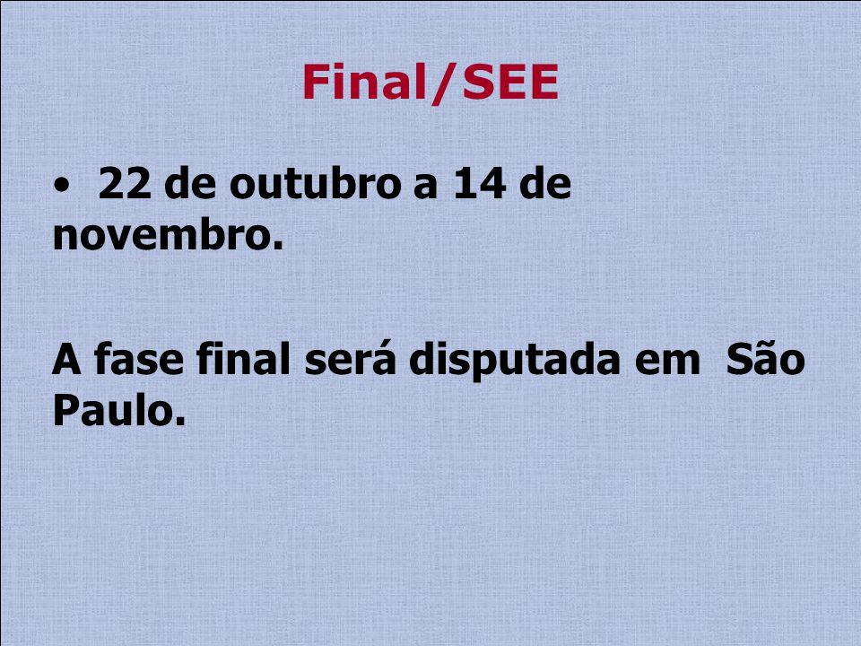 Final/SEE 22 de outubro a 14 de novembro. A fase final será disputada em São Paulo.