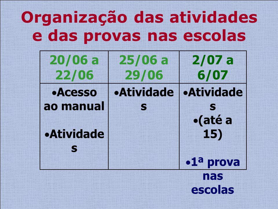 Organização das atividades e das provas nas escolas Atividade s (até a 15) 1ª prova nas escolas Atividade s Acesso ao manual Atividade s 2/07 a 6/07 2