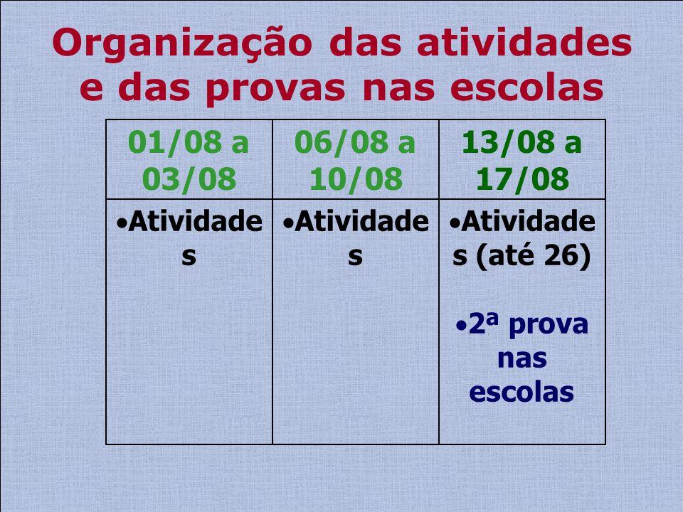 Organização das atividades e das provas nas escolas Atividade s 01/08 a 03/08 Atividade s 06/08 a 10/08 Atividade s (até 26) 2ª prova nas escolas 13/0