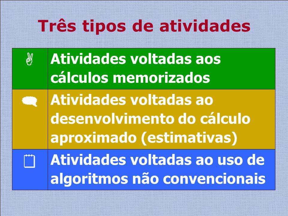Três tipos de atividades Atividades voltadas ao uso de algoritmos não convencionais Atividades voltadas ao desenvolvimento do cálculo aproximado (esti